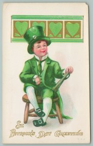 St Patrick's Day~Young Man In Green Suit~White Pipe In Hatband~Shillelagh Club