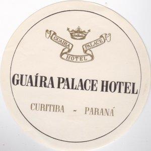 Brasil Curitiba Guaira Palace Hotel Vintage Luggage Label sk1350