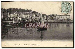 Old Postcard Honfleur Harbor and the Cote de Grace Yacht