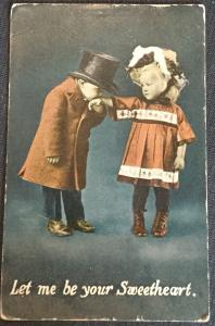 "Postcard Used Boy Kissing Girls Hand ""Sweetheart"" LB"