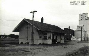 Carmen, Oklahoma, Santa Fe Depot (1950s) Station RPPC Postcard
