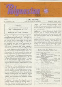 S.S. Mariposa , SKAGWAY to SITKA, 1971 ; The Polynesian Newsletter
