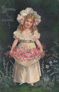FRIENDSHIP (d'amitie) 1900-10s; Girl, bonnet, pink flowers in apron, horse shoes