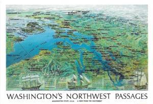 Washington's Northwest Passages.  Smart Card.  Map, ships