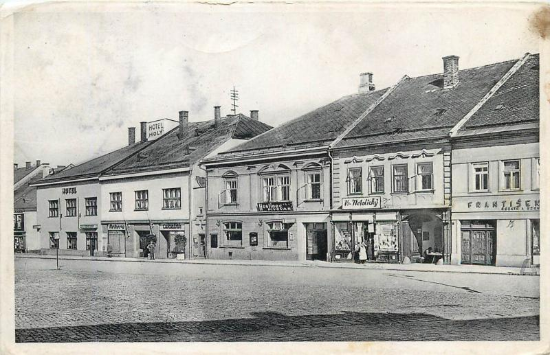 Eastern Europe Polička Policka stores shops Czech Republic real photo postcard