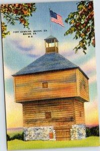 postcard Macon Georgia - Fort Hawkins