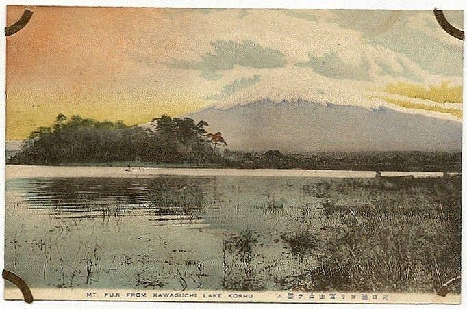 Japan MT. FUJI FROM KAWAGUCHI LAKE KOSHU vintage postcard. Toned stained back