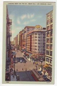 P1205 old unused postcard busy street view 7th street los angeles calif