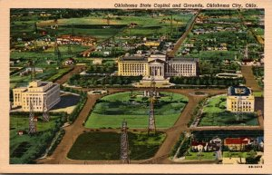 Oklahoma Oklahoma City Aerial View State Capitol and Grounds Curteich