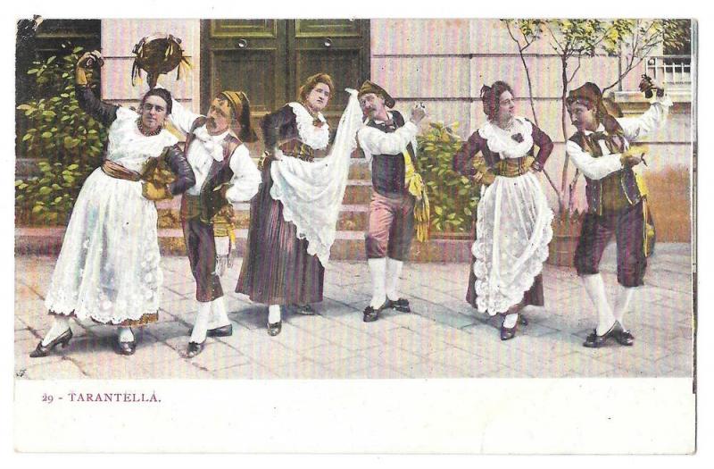 Italy Tarantella Folk Dance Traditional Costume Postcard