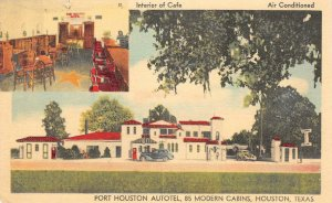 PORT HOUSTON AUTOTEL Texas Roadside Motel & Trailer Park ca 1940s Linen Postcard