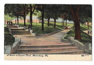 Harrisburg PA Capitol Park Walk Vintage Postcard 1911