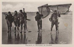 Calais Pas de Calais Pecheurs de Crevettes Real Photo Postcard