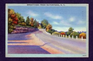 NY Greetings from WATERFORD NEW YORK Linen Postcard PC