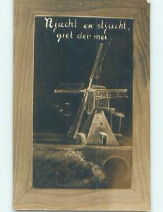 Unused Divided-Back new year foreign WINDMILL BY THE BRIDGE o4740