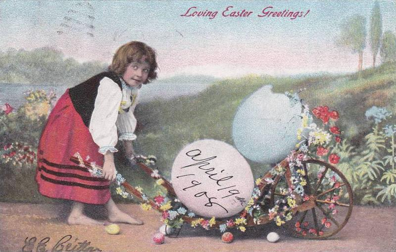 Loving Easter greetings! Barefoot girl pushoing flower wagon with large eggs,...