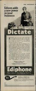 1927 Ediphone Dictate Machine Vintage Print Ad 3922