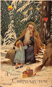 Christmas Santa Claus Hold-To-Light H-T-L- Signed Mailick 1910 Postcard