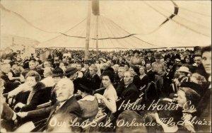Orlando FL Heber Harter Co Last Sale People in Tent c1920 Real Photo Postcard