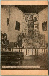 Vintage SANTA FE New Mexico Postcard Altar of the Old San Miguel Church c1910s