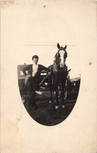 7959 Man and a horse and wagon 1920's RPPC