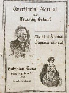 Hawaii Territorial Normal & Training School 1926 Commencement Program Huinalani