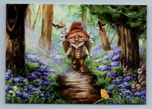ELDER MAN Forest Forester Path to House Bird Bunny Rabbit Russian New Postcard
