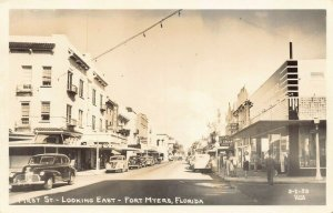 Fort Myers FL First Street East Hardware Store Storefronts Old Cars RPPC
