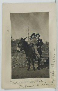 Rppc Men on Donkey Mule Nurse & Willie Taking A Ride c1910 Postcard O16