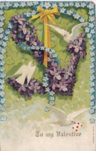 Valentine's Day White Doves With Anchor Of Purple Flowers 1907