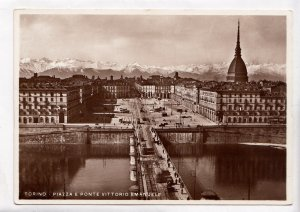 TORINO, PIAZZA E PONTE VITTORIO EMANUELE, unused real photo, vera fotografia