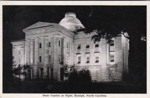 North Carolina Raleigh The State Capitol Building At Night 1942