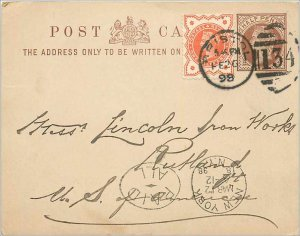 Entier Postal Stationery Postal Britain Great Britain in 1898 to Bristol Ruth...