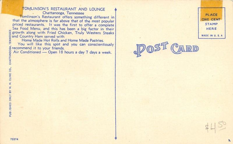Chattanooga TN~Tomlinson's Restaurant & Lounge~Inside Out~ART DECO 1940s Linen
