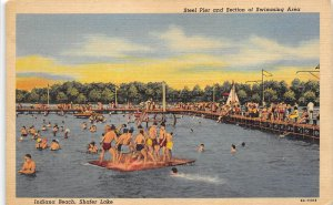 Indiana Beach Shafer Lake Indiana 1940s Postcrd Steel Pier & Swimming Area