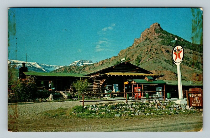 Cody WY- Wyoming, Mountain View Lodge Motel, Texaco Gas, Chrome Postcard