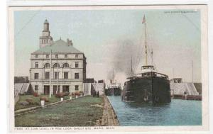Steamer at Low Level Poe Lock Sault Sainte Marie Michigan Phostint postcard
