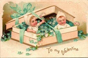 Vtg Valentin Boîte Complet Fleurs & Bébés - Estampé International Art BAR Pub