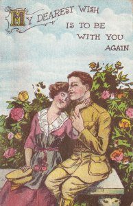 Romantic Couple sitting in garden, Soldier and his sweetheart, 1900-10s