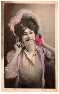 Victorian  Woman , Rose in Mouth