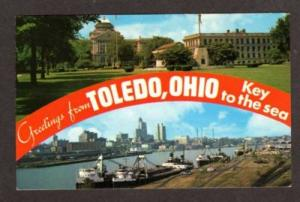 OH Greetings from TOLEDO OHIO Civic Center Postcard