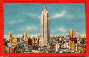 New York City Midtown Skyline Showing Empire State Building 1949