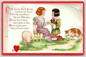 Valentine~TUCK Little Nursery Lovers~Ragged Curly Locks~Propose~Pigs~Book Border