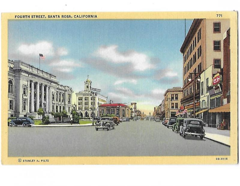 Santa Rosa California 4th Street Downtown 1940s