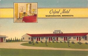 Worthington MN~Oxford Motel~Linen Postcard~1955 To Ray Potratz, Milwaukee