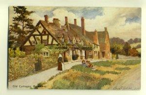 ar0047 - Old Cottages, Broadway - artist George Carline - postcard