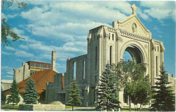 Walls of St. Boniface Basilica Manitoba Canada.  Destroyed b