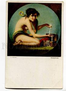 257404 Temptation NUDE Woman SNAKE Eva by KANDLER Vintage PC