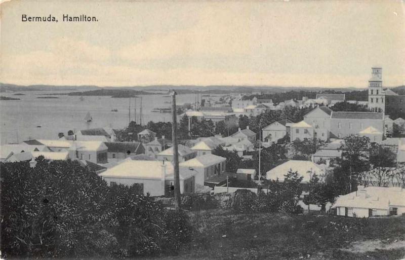 Hamilton Bermuda Birds Eye View Antique Postcard J59135