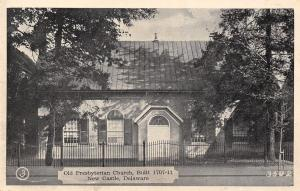 New Castle Delaware~Presbyterian Church~Wrought Iron Fence~1940s B&W Postcard